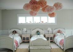 Pink Pom Poms in a Children's Room, Remodelista Triplets Bedroom, Girls Bedroom, Bedroom Decor, Bedroom Ideas, Trendy Bedroom, Bedroom Themes, Childrens Room, Ideas Habitaciones, Pom Poms
