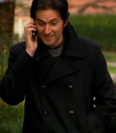 Richard Armitage in The Vicar of Dibley talkig to his sister on the phone, only Geraldine doesn't know that.