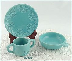 McCOY POTTERY – WABBIT COLLECTION BABY DISHES (BLUE)