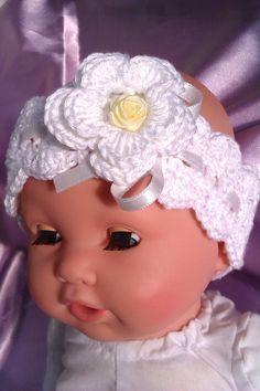 edles Stirnband Baby, Babystirnband weiss,Haarband