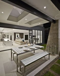 Beautiful Caesarstone Snow kitchen and Alfresco area. It looks really modern, designed especially for a big family