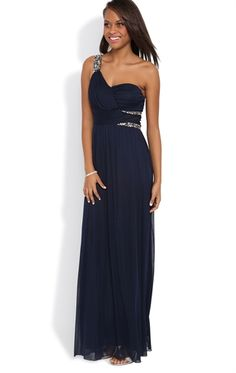 Long Prom Dress with One Shoulder Double Stone Strap and Stone Waist Mobile