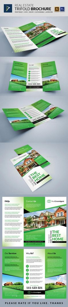 Real Estate Trifold Brochure — Photoshop PSD #design #graphic • Available here → https://graphicriver.net/item/real-estate-trifold-brochure/10179921?ref=pxcr