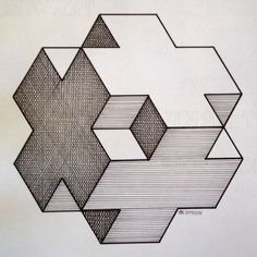 Regolo — Geometry Idea: draft this and quil it with ombre fabric. Illusion Drawings, 3d Drawings, Illusion Art, Escher Kunst, Geometric Shapes Art, Isometric Drawing, Graph Paper Art, Art Diy, Perspective Art