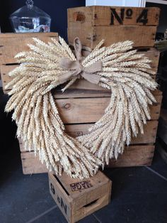Large Dried Wheat Wreath Wall Hanging Hessian by WildFlowersWigan