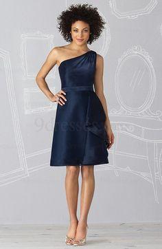 Modest Knee Length Ruffles Satin Sleeveless A-line Bridesmaid Dress
