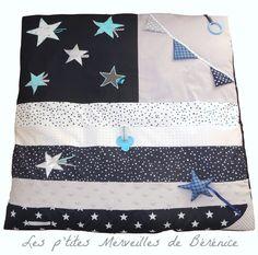 SUR COMMANDE Tapis d'éveil pour bébé bleu marine, gris, argent, blanc, turquoise : Jeux, peluches, doudous par l-p-m-b