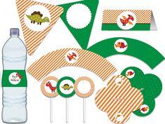 Festa Dinossauros - aniverários - chá de bebê - bodas - noivado - casamento - festa adulto - festa infantil -  verde, laranja, marrom Tuty - Arte & Mimos www.tuty.com.br