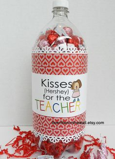 8 Valentine Teacher Appreciation Soda Bottle Gift Labels and 3 Gift Tags-Fill a Soda Bottle-Tutorial Included