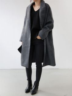 Chic Style - all black outfit with long grey coat More