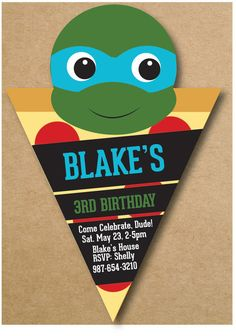 Ninja Turtle Birthday Invitation, Pizza