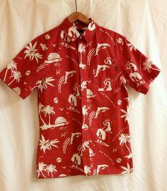 2322ccd7 HUF Men's Hawaiian Luau Shirt Red White Hula Girls Sharks Palm Trees Size M  #HUF