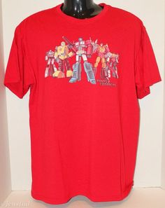 TRANSFORMERS OPTIMUS PRIME & OTHERS RED TSHIRT MENS LARGE OR WOMEN SHIRT USED #Unknown #ShortSleeve