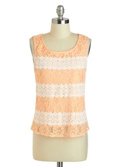 Tasty Techniques Top - Tan / Cream, Solid, Lace, Daytime Party, Sleeveless, Short, Orange