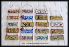 Print words on scrapbook paper and modge podge on wood. Add wire to hang!