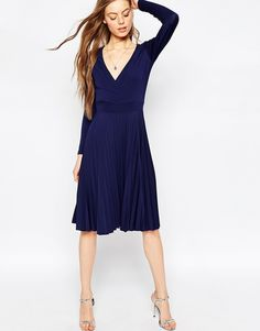 ASOS pleated blue dress