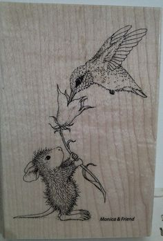 """NEW! Stampendous House Mouse """"Hummingbird Feeder"""" WM Rubber Stamp"""