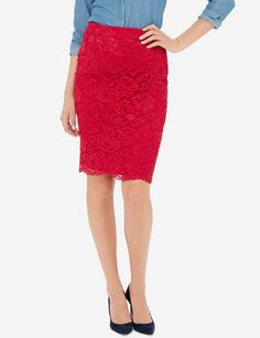 Romantic lace pairs beautifully with the classic pencil skirt silhouette.
