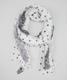 Take a look at the Black & White Dot Scarf on #zulily today!