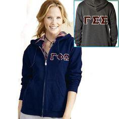 Custom Greek Apparel, Sorority Outfits, Greek Clothing, Hooded Sweatshirts, Adidas Jacket, Hoods, Hooded Jacket, Zip, Lady