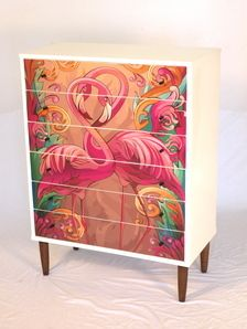 Unique and contemporary upcycled FLAMINGO baby/childrens tall boy
