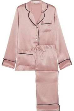 OLIVIA VON HALLE Coco silk-satin pajama set Baby-pink and midnight-blue silk-satin Button fastenings along front silk Hand wash or dry clean Designer color: Oyster Mother-of-pearl: China Imported Cute Pjs, Cute Pajamas, Pajamas Women, Satin Pyjama Set, Satin Pajamas, Pajama Set, Pyjamas, Pink Silk Pajamas, Olivia Von Halle