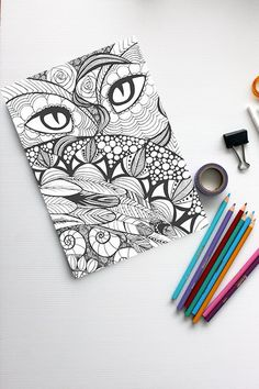 Printable Coloring Page - Adult Colouring Page, Color in, Colour in, PDF printable, Zentangle -Instant  Download only