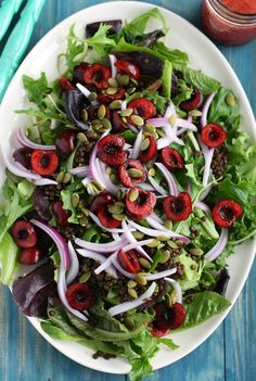 Summer Salad with Cherries and Black Lentils.