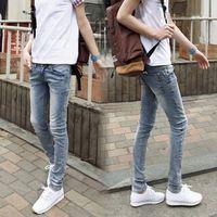 Men   s pantalones vaqueros nueva primavera moda hombres de Micro elástico jeans  ajustados luz informal bc6112a74e4