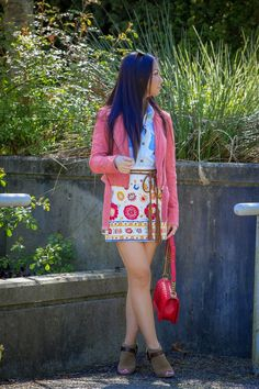 Valentina and Aveline: Pink Suede Jacket And Embroidered Skirt