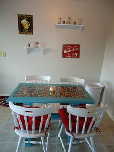 Another view of the bottle cap table