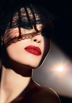 Red lip and black lace Lip Color Collections For Fall 2012 From Laura Mercier, Make Up For Ever And Becca