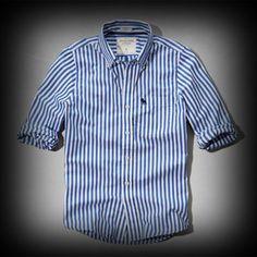 アバクロ メンズ シャツ Abercrombie&Fitch Meacham Lake Shirt シャツ★アバクロを代表するトナカイのロゴマークが刺繍されてます。 ★ストライプパターンがアクセントになっています。