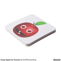 Funny Apple For Teacher Square Paper Coasters (x6)