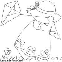 Discover thousands of images about Sunbonnet Sue Flying Kite Nusery Quilt Block Quilt Patterns Free, Applique Patterns, Applique Quilts, Embroidery Applique, Machine Embroidery, Embroidery Designs, Doily Patterns, Paper Embroidery, Dress Patterns