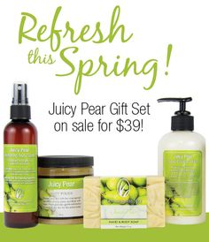 Trees are budding, flowers are blossoming and the smell of fresh fruit fills the air! Juicy Pear, our favorite spring scent has returned! www.ourlemongrassSpa.com/amykingston
