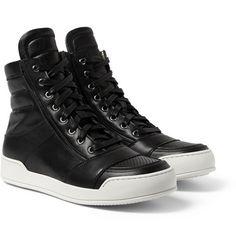 BalmainLeather High Top Sneakers