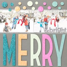 #papercraft #scrapbook #layout #christmas AC Glitter MerryBright Layout
