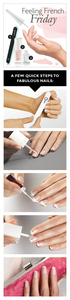 1, 2, 3 – Voilà! French Manicure!   1. Start with the Beauty Nail Buffer (20657) to make your nails smooth and shiny   2. Gently apply Oriflame Beauty French Manicure, Morning Dew (18931)   3. Applying Oriflame Beauty Nail White Tip (18929) on the tip of each nail. For a long-lasting result finish off with Oriflame Beauty Crystal Base & Top Coat (18927)