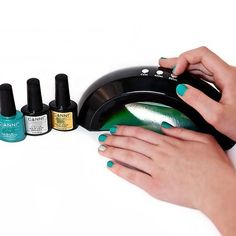 LED Nail Lamp is used for Curing Gel/Shellac Polish. Nail lamp has a sleek compact design which makes it easy to use for at home manicures! Cures the polish in 60 seconds. Plug into wall, has an automatic timer buttons of continuous, 45 seconds and 60 seconds. The light turns off on its own after the 45 or 60 seconds are up.