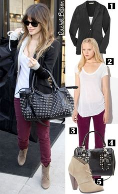 Purple skinny jeans and tan desert boots by delores. I have similar boots.