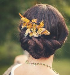 butterfly comb, bridal hair piece, whimsical wedding accessory, bridal head piece, woodland wedding - COCOON. $30.00, via Etsy.
