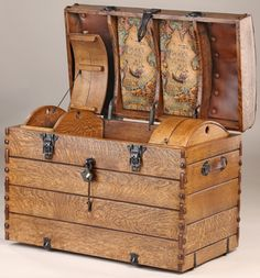 Antique Steamer Trunk with Interior Lined Traveler World Map and Camel Back Wood Cargo Cases