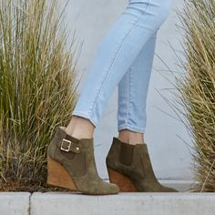 Army green suede wedge booties