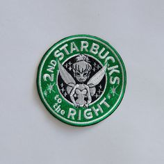 Tinkerbell Starbucks Coffee inspired patch, Disney patch, princess patch, Tink patch, Disney Starbucks, Cartoon patch, Sew on, Iron On