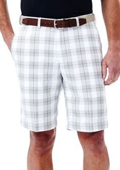 Haggar White 10-in. Flat Front Cool 18 Plaid Performance Shorts