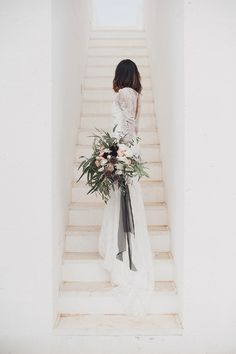 Alexandra Grecco Wedding Dress - Alexandra Grecco Bridal For A Minimalist Wedding Inspiration Shoot at Masseria Moroseta Puglia With Plum Colour Accents Styling by In The Mood For Love Weddings And Images by Melissa Gidney Photography
