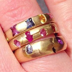 Beautiful creations like these Polly Wales rings warrant an extreme close-up. #LoveGold