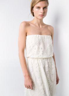 27ff2f339 Sukienka z dekoltem bandeau - Kobieta. Vestido RectoCintura ...