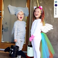 we love these simple ideas from @janecan_ . the heather gray pj is the perfect base for a hammer head shark! ・・・ We have ideas for no sew Halloween costumes on the blog today. On request, Mia is a rainbow unicorn and Charlie is a hammerhead shark!  #HWeasycostume #PrimaryHalloweenParade #happyhalloween